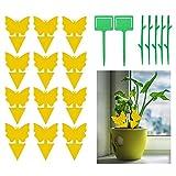 JOLIGAEA 100 Stücke Gelbsticker Dekor, Gelbtafeln Klebrige Insektenfallen Dekorative Leimfalle, Doppelseitige Fliegenfänger Sticker für Pflanzen Auf dem Balkon oder Im Garten Mehrweg