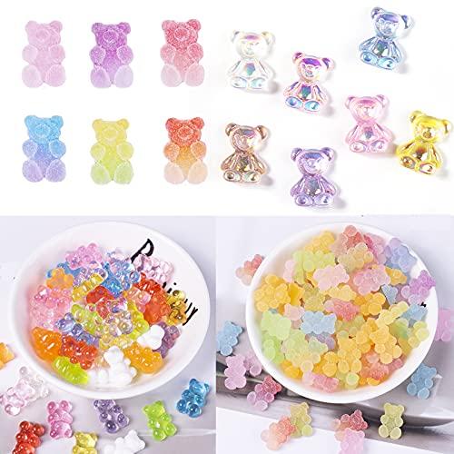 90Pcs Big 3D Bear Nail Charms, Candy Gummy Acrylic 3D Bear Nail Charms, Colorful Kawaii 3D Cute Resin Bear Pendants Charm for Nail Art Designs 2021 Nail DIY Crafting Accessories