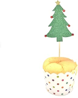 Armfer-household supply Christmas Cupcake Toppers Cake Glitter Tree Deer Snowflake Shape Food Fruit Picks Insert Flags for Merry Xmas New Year Home Decor Christmas Party Supplies Favors