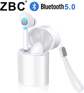 ZBC Wireless Earbuds Bluetooth Earphones V5.0 Headphones in-Ear TWS Auto-Pair Airpods Mic Charging Case Sport Running Mini True Stereo Sound High Definition Smart Touch Compatible iOS Android Samsung