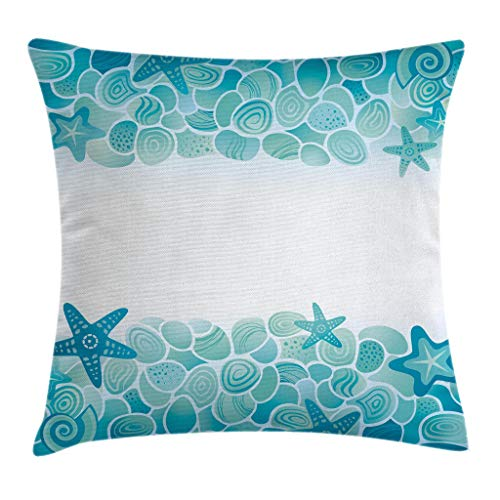 Ambesonne Ocean Throw Pillow Cushion Cover, Modern Sealife Marine Sea Shells Stars Fish Under The Sea Image, Decorative Square Accent Pillow Case, 16' X 16', Turquoise Seafoam