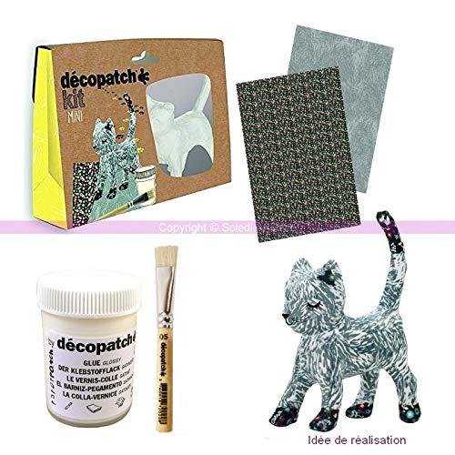 Decopatch mini-creatiefset, kat, grijs, 13,5 cm, van gips, met kwast, bladeren en lijm