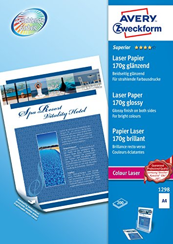 Avery Zweckform 1298 Photo Paper A4 Printable Both Sides 170 g for Colour Laser Printers Pack of 200 Sheets