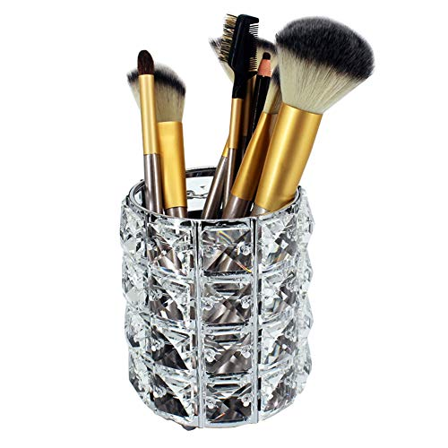 Crystal Makeup Brush Holder Makeup Brush Organizer Eyebrow Pen Pencil Storage Box Container (3.9X4.7inch, Silver)