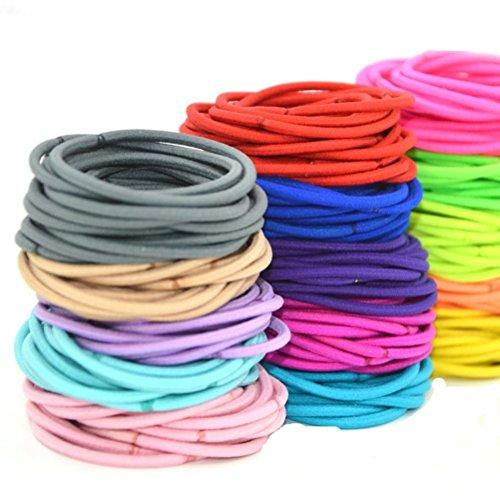 Cuhair Lot de 50 élastiques à cheveux, couleur aléatoire