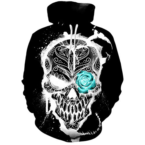 KLFGJ Hot Mens Hooded Sweatershirt Scary Halloween Lover 3D Print Shirt Long Sleeve Top Blouse Black