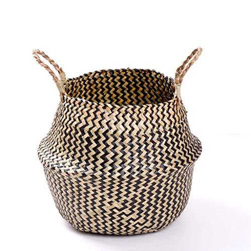 Cesta de flores de mango de algas, vientre hecho a mano Planta de colgando de la planta decoración del hogar, cesta de almacenamiento de mimbre, colgante hecho a mano Pote de flores Basque 15 * 19cm
