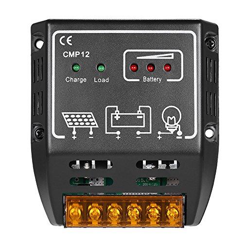 Anself Regolatore di Carica Solare 10A - 12V/24V Regolatore di Carica Panello Solare di Protezione di Sicurezza,per Pannello Solare Lampada Batteria e LED Illuminazione
