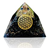 Black Tourmaline Orgone Pyramid for Chakra Balancing Healing Positive Energy - Energy Generator Orgonite Pyramid for E-Emission Protection and Immunity Booster Meditation Large Size 80-85 mm