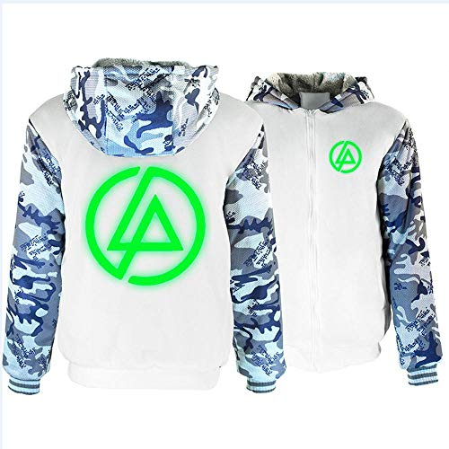 S-vision Unisex Hoodie Sudadera - Linkin Park Band Band Resplandor New Casual Warm Pullover Zip Sudadera Béisbol Jersey Camiseta De Manga Larga Suéter -Teens Regalo F-3XL