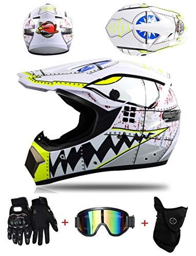 LZSH DOT Niños Offroad Casco Motocross Casco Dirt Bike ATV Motocicleta Casco Guantes Gafas (SY-03,S: 52-56 cm)
