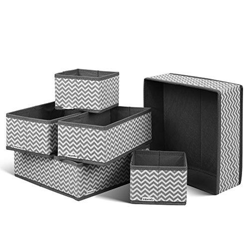 Homfa 6 Stück Aufbewahrungsbox Stoff Set faltbar Unterwäsche Socken Organizer Ordnungsbox Faltbox Stoffbox für Schubladen Ordnungssystem grau