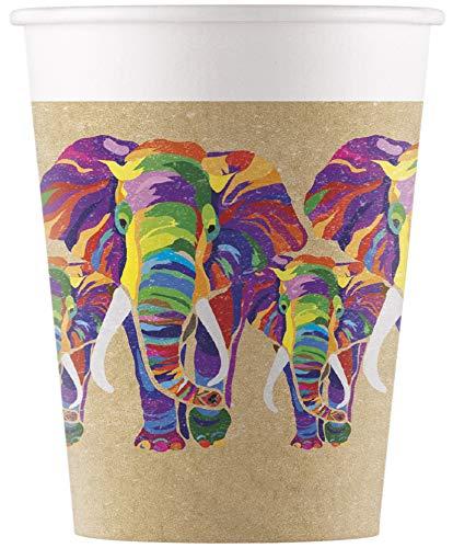 Procos 90605 - Vasos de cartón, diseño de elefante, 200 ml, 8...