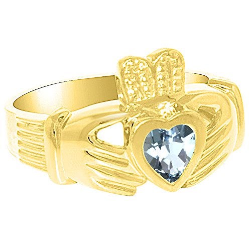 Unisex masculino o femenino simulado pendientes de aguamarina Anillo Claddah el amor, lealtad y amistad anillo de plata o chapado en oro amarillo