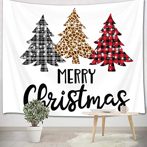 HVEST Merry Christmas Tapestry Black White Plaid Xmas Tree on White Background Tapestries New Year Indie Room Decor Wall Hanging Blacket for Bedroom Living Room Dorm Party Decor,60X40Inches