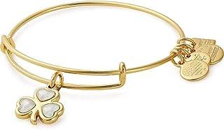 Alex and Ani Women's Crystal Shamrock Bangle Bracelet, Shiny Gold