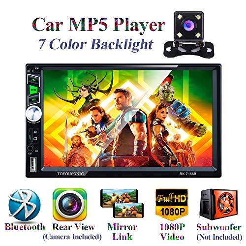 Honboom Autoradio Bluetooth 2 DIN Stéréo de Voiture écran Tactile HD de 7 Pouces avec Fonctions d'appel Mains Libres Bluetooth/Lien Miroir/FM/USB/Carte TF/entrée...