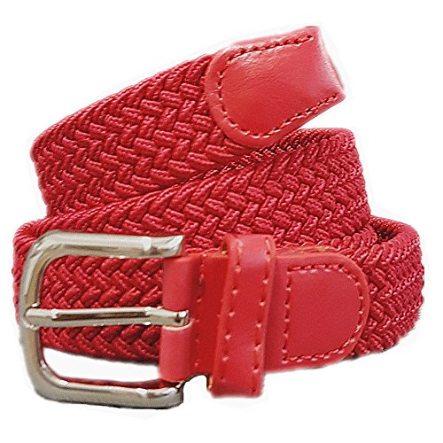 Unisex Flechtgürtel elastisch Damen Herren Gürtel geflochten Stretch ES (Rot)