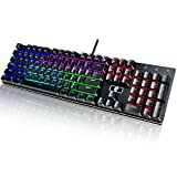 E-YOOSO Z-88 RGB Mechanical Gaming Keyboard with Rainbow LED Light, Waterproof 104 Keys Anti-ghosting for Gamers and Typists, Swappable Blue Switches
