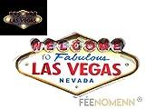 FEENOMENN Platte Metall Lichterkette LED–Deko Wand Vintage–Welcome Las Vegas Nevada (50x 25cm)