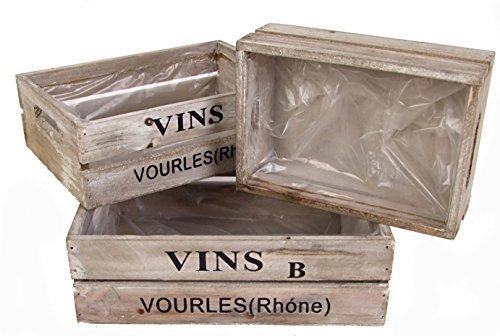 Weinkisten 3er Set - Deko Holzkiste Vine - Holzkisten in 3 Größen