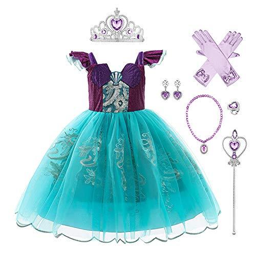 IBAKOM Kinder Mädchen Meerjungfrau Kostüm Prinzessin Arielle Ariel Kleid Cosplay Party Verkleidung Karneval Halloween Weihnachten Geburtstag Outfit Violett (mit Zubehör) 5-6 Jahre