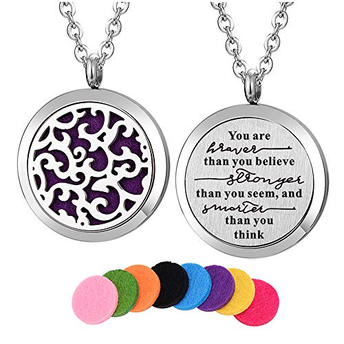 Kissreason Stainless Steel You are Braver Than You Believe Diffuser Necklace Locket Pendant Essential Oil