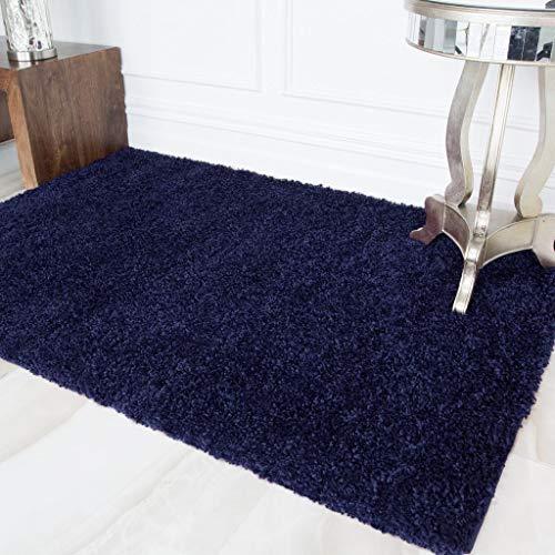 The Rug House Alfombra Suave de Felpa Gruesa y tupida en Color Azul Marino de fácil Limpieza para la Sala de Estar 60cm x 110cm