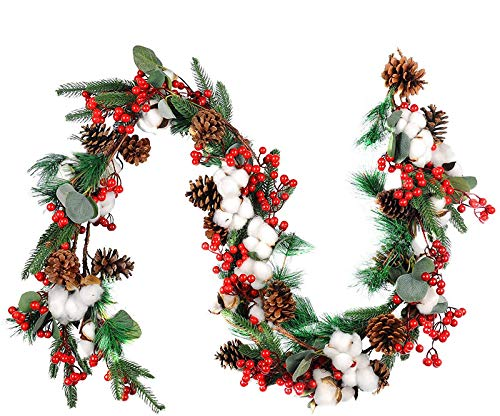 Kyrieval 6.5ft Long Christmas Garland Artificial Pine Garland with Red Berries Door Hanging Garland for Xmas Indoor Outdoor Party Home Decoration