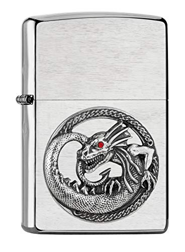 Imagen del productoZippo Dragon 2007134 - Mechero de Gasolina (Recargable, en Caja de Regalo, 2007134), Color Plateado