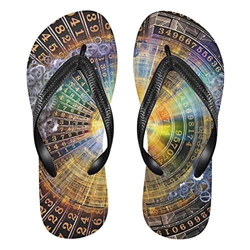 Linomo Reloj de bolsillo con símbolo astrológico para hombre, estilo zodíaco, sandalias de verano para mujer, color, talla 42/46 EU