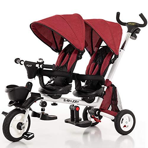 AI-QX Kinderdriewieler Fiets Baby Kinderwagen 1-5 Jaar Oude Baby Tweelingen-driewieler