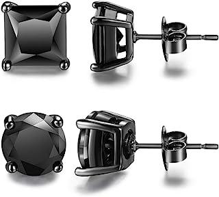 Hypoallergenic Black Men Earrings Stainless Steel for Sensitive Ears Pack of Earrings Stud Sets Unisex for Men Guys Womens...
