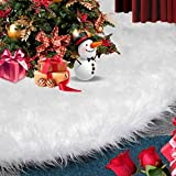 Christmas Tree Skirt White, 48 inch Snow White Tree Skirt Xmas Tree Skirt for Applicable Hotels Shopping Malls Christmas Decorations Christmas Trees Christmas Venue New Year Party