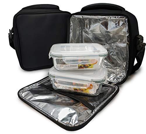 NERTHUS Lunch Bag Fiambrera bolsa termica porta alimentos, negra + 2 tupper, Tela Resistente, Con 2 Herméticos Cristal, Con 2 Tuppers Cristal