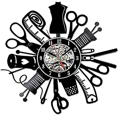 TeenieArt Reloj de Pared con Disco de Vinilo Vintage diseño de Costura Artesanal Arte Hecho a Mano Reloj de Pared con Registro de Vinilo artesanía decoración del hogar 30X30Cm sin LED
