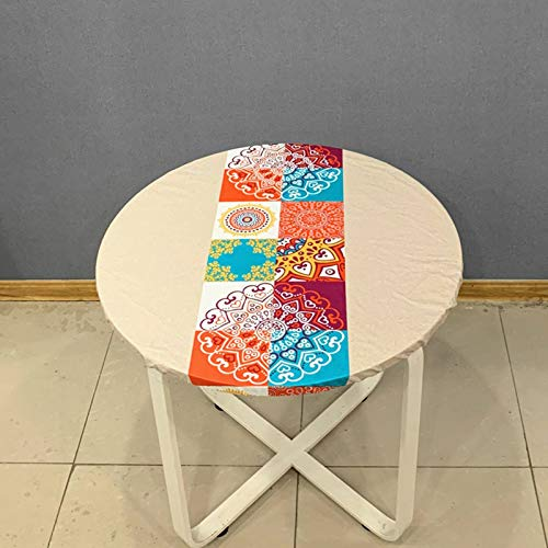 HUANXA Round Table Waterproof Tablecloth, PVC Oil-Proof Disposable Table Cover with Elastic Bottom Non-Slip Table Cloth-D-diameter100cm 39in