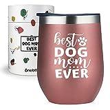 Onebttl Hund Mama Weinbecher Hundeliebhaber Geschenke für Frauen, lustig 340 ml isolierter Edelstahlbecher mit Deckel für Hundeliebhaber, Mitarbeiter, Tochter, Ehefrau Freunde - Rotgold