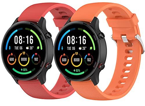 Hoopyeecase Deporte Reemplazo Correa Compatible con Xiaomi Mi Watch Color Sport, Deporte Silicona Muñequeras Pulsera para Mujer Hombre Reemplazo Muñeca Correa