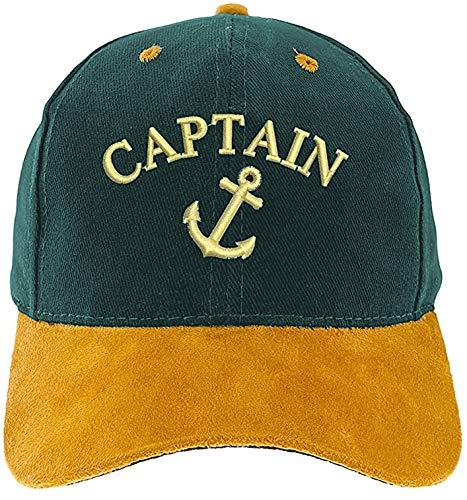4sold Berretto da capitano Captain Anker Ancient Mariner, Captain Cabin Boy Crew First Mate Yachting, berretto da baseball con scritta (1 x Anchor Captain Green)