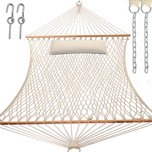 Y- STOP 13.2FT Hammocks,Traditional Cotton Rope Hammock with Chains and Hooks for Outdoor,Indoor,Patio Yard,Double Solid Wood,for Two Person,Max 440 Lbs(Natural)