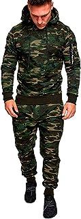GUOCU Mens Camouflage Gym Full Tracksuit Jogging Bottoms Hoodie Top Set Joggers Tracksuit Bottoms