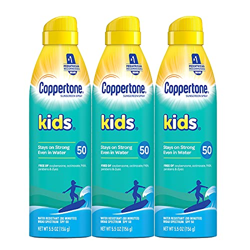 Coppertone KIDS Sunscreen Continuous Spray SPF 50, 5.5 Ounce, Pack of 3