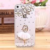 Unbekannt Schutzhülle iPhone 5C Transparent Tänzerin Gold und Diamanten Strass Luxus Original Swag Kleid Glamour Ballerinas Buyus Schutzhülle Bumper