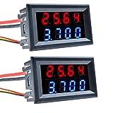 Diymore 2 PCS 0.28'4 bits DC0-100V 10A voltímetro amperímetro azul + rojo LED medidor de voltímetro de doble amperio