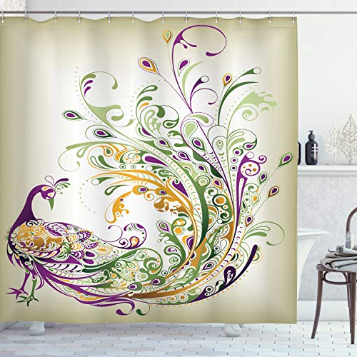"""Ambesonne Abstract Shower Curtain, Peacock Bird Tail Feathers Plume Paisley Pattern Ornamental Design, Cloth Fabric Bathroom Decor Set with Hooks, 70"""" Long, Marigold Purple"""