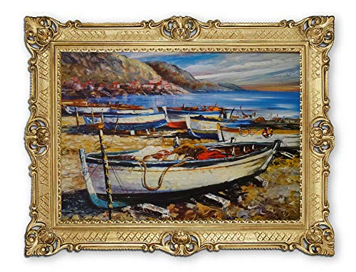 Lnxp Prachtig schilderij M19 van kunstenaar: Rajco boot boten schip strand zee scheepsbeeld zeilschip zeilboot golven maritiem 90x70 cm afbeeldingen barok antiek repro