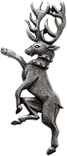 and Mens Heraldic Stag Pewter Lapel Pin - Grey