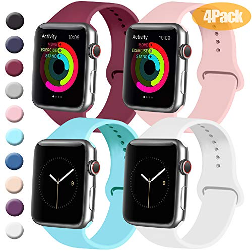 Tobfit 4 Pack Sport Bands Compatible with Apple Watch Band 38mm 42mm 40mm 44mm, Soft Silicone Replacement Band Compatible with Watch Series 5/4/3/2/1 (Wine Red/White/Pink/Light Blue, 38mm/40mm M/L)