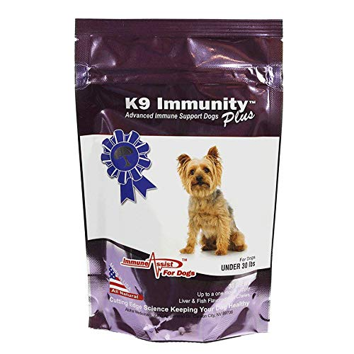 Aloha Medicinals - K9 Immunity Plus - Potent Immune Booster for Dogs Under 30 lbs - Certified Organic – Mushroom Enhanced Supplement - Veterinarian Recommended Dog Health Supplement (30 Chews)